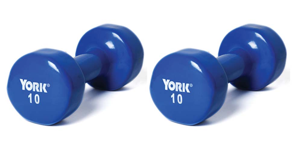 10 lb. Colored Vinyl Coated Dumbbells from York -1 Pair