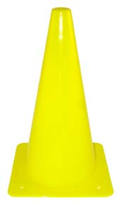 """12"""" Yellow Lightweight Poly Colored Cones (Set of 16)"""