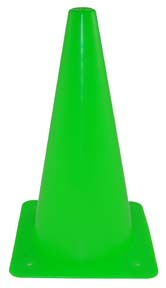 "12"" Green Lightweight Poly Colored Cones (Set of 16)"