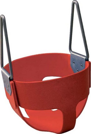 Enclosed Red Rubber Swing Seat