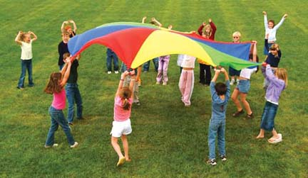 20' Deluxe Multi Colored Parachute with Sixteen Handles
