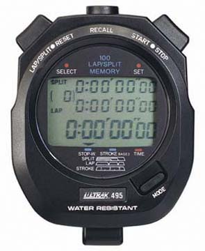 100 Lap Memory Stopwatch Timer - Black