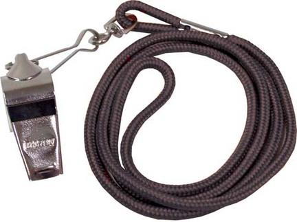 Nickel Plated Whistles and Black Lanyards - 1 Dozen