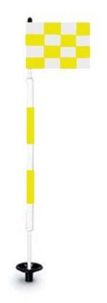 Tournament Jr. Flagstick Practice Green Marker / Checkered Flag Sets (Black/Yellow) - Set of 9