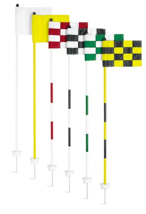 Cupless Jr. Flagstick Practice Green Marker / Checkered Flag Sets (Black/White) - Set of 9