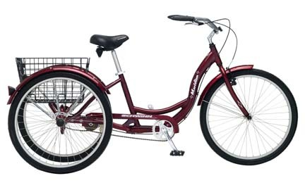 Schwinn 26 Adult Meridian Single Speed 3 Wheeler / Tricycle (Black Cherry)