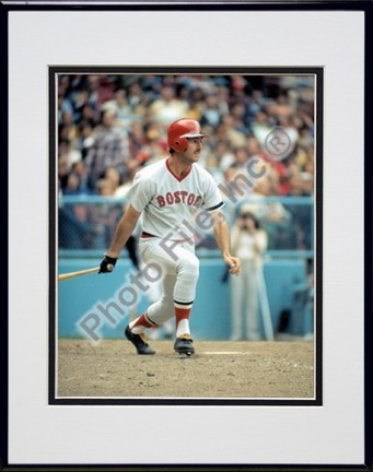 """Fred Lynn, Boston Red Sox Double Matted 8"""" X 10"""" Photograph in Black Anodized Aluminum Frame"""