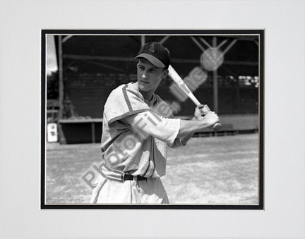 "Stan Musial, St. Louis Cardinals (Batting) Double Matted 8"" X 10"" Photograph (Unframed)"