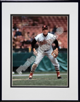"""Brooks Robinson, Baltimore Orioles Double Matted 8"""" X 10"""" Photograph in Black Anodized Aluminum Frame"""