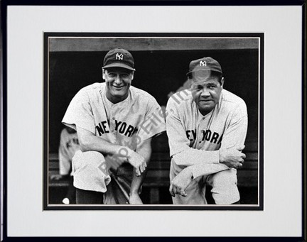 "Babe Ruth and Lou Gehrig, New York Yankees (Posing) Double Matted 8"" X 10"" Photograph in Black Anodized Alumin"