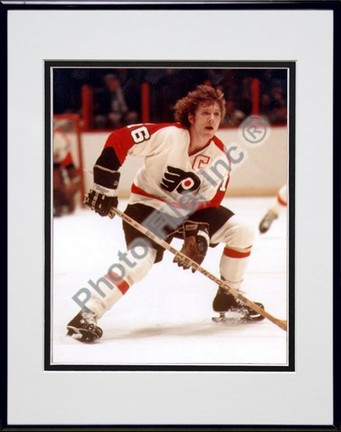 "Bobby Clarke, Philadelphia Flyers Double Matted 8"" X 10"" Photograph in Black Anodized Aluminum Frame"
