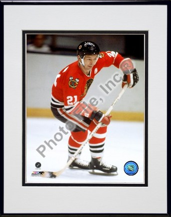 """Stan Mikita """"Action"""" Double Matted 8"""" x 10"""" Photograph in Black Anodized Aluminum Frame"""