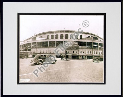 """Chicago Cubs """"Wrigley Field"""" Double Matted 8"""" X 10"""" Photograph in Black Anodized Aluminum Frame"""