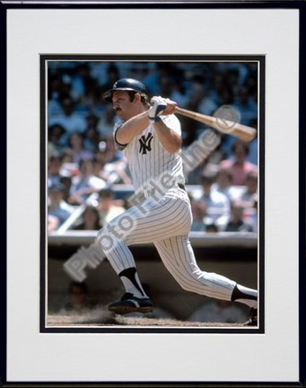 """Thurman Munson, New York Yankees """"Batting"""" Double Matted 8"""" X 10"""" Photograph in Black Anodized Alumi"""