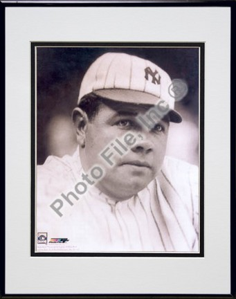 """Babe Ruth, New York Yankees """"Classic Portrait"""" Double Matted 8"""" X 10"""" Photograph in Black Anodized A"""