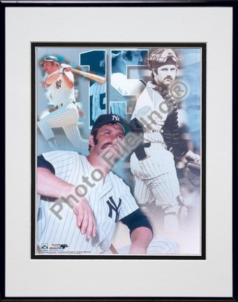 "Thurman Munson, New York Yankees ""Legends Of The Game Composite"" Double Matted 8"" X 10"" Photograph i"