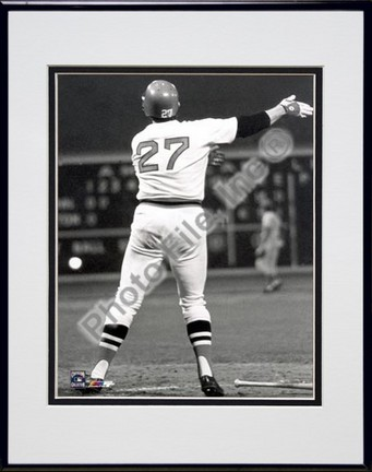 "Carlton Fisk, Boston Red Sox ""1975 Historic Home Run"" Double Matted 8"" X 10"" Photograph in Black Ano"