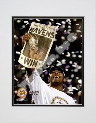 "Ray Lewis, Baltimore Ravens Double Matted 8"" X 10"" Photograph (Unframed)"