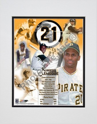 """Roberto Clemente, Pittsburgh Pirates """"Legends Of The Game Composite"""" Double Matted 8"""" X 10"""" Photogra"""