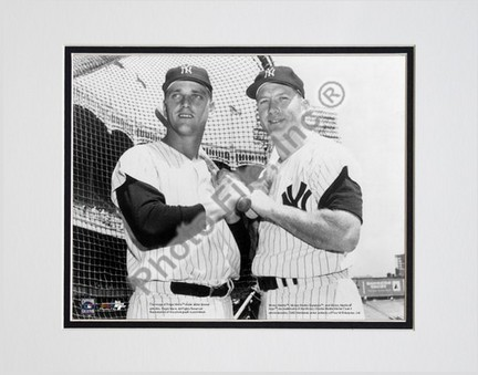 "Mickey Mantle and Roger Maris, New York Yankees ""Horizontal"" Double Matted 8"" X 10"" Photograph (Unfr"