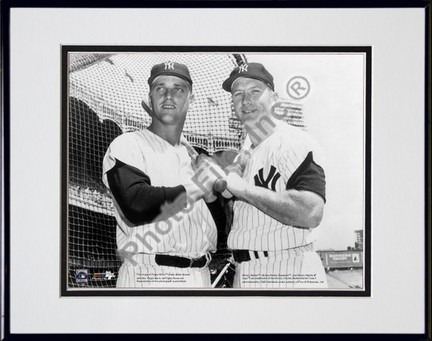 """Mickey Mantle and Roger Maris, New York Yankees """"Horizontal"""" Double Matted 8"""" X 10"""" Photograph in Bl"""