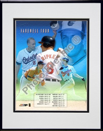 """Cal Ripken, Jr., Baltimore Orioles (Collage) Double Matted 8"""" X 10"""" Photograph in Black Anodized Aluminum Fram"""