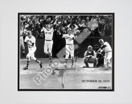 "Carlton Fisk, Boston Red Sox Double Matted 8"" X 10"" Photograph (Unframed)"
