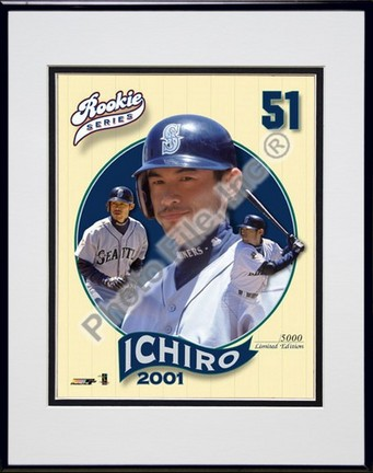 """Ichiro Suzuki, Seattle Mariners Limited Edition Double Matted 8"""" X 10"""" Photograph in Black Anodized Aluminum F"""