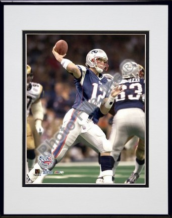 "Tom Brady, New England Patriots ""Action Super Bowl XXXVI #9"" Double Matted 8"" X 10"" Photograph in Bl"