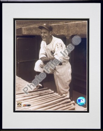 """Lou Gehrig, New York Yankees (Posing) Double Matted 8"""" X 10"""" Photograph in Black Anodized Aluminum Frame"""