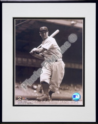 """Lou Gehrig, New York Yankees (Batting) Double Matted 8"""" X 10"""" Photograph in Black Anodized Aluminum Frame"""