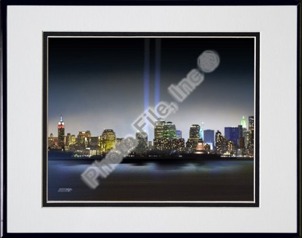 """Towers Of Light (NYC) September 11 Tribute Double Matted 8"""" X 10"""" Photograph in Black Anodized Aluminum Frame"""