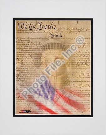 """Flag / Constitution Collage Double Matted 8"""" X 10"""" Photograph (Unframed)"""