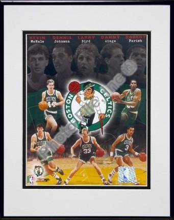 """Boston Celtics """"Big Five Legends Composite"""" Double Matted 8"""" X 10"""" Photograph in Black Anodized Alum"""