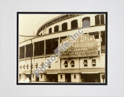 """Chicago Cubs """"Outside / Sephia"""" Double Matted 8"""" X 10"""" Photograph (Unframed)"""