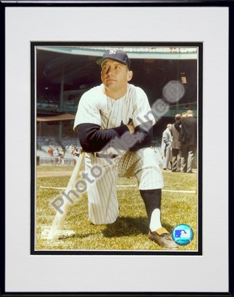 """Mickey Mantle, New York Yankees """"#7 Kneeling"""" Double Matted 8"""" X 10"""" Photograph in Black Anodized Al"""