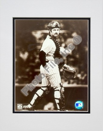 "Thurman Munson, New York Yankees ""Catchers Gear Sepia"" Double Matted 8"" X 10"" Photograph (Unframed)"