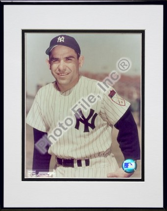 "Yogi Berra, New York Yankees Double Matted 8"" X 10"" Photograph in Black Anodized Aluminum Frame"