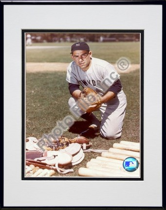 "Yogi Berra, New York Yankees ""with Equipment"" Double Matted 8"" X 10"" Photograph in Black Anodized Al"