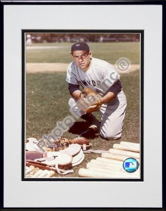 Yogi Berra New York Yankees With Equipment Double Matted 8 X 10