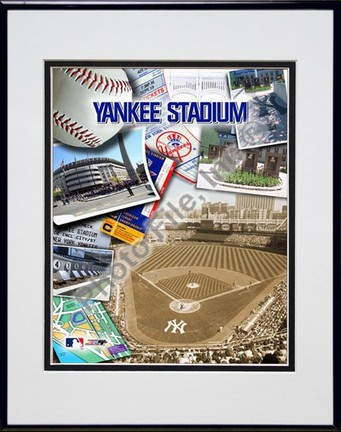 "Yankee Stadium Composite Double Matted 8"" x 10"" Photograph in Black Anodized Aluminum Frame"