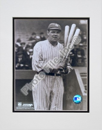"Babe Ruth, New York Yankees ""3 Bats"" Double Matted 8"" X 10"" Photograph (Unframed)"