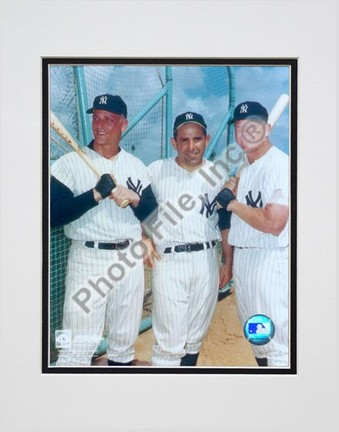 """Roger Maris, Yogi Berra, and Mickey Mantle, New York Yankees Double Matted 8"""" X 10"""" Photograph (Unframed)"""
