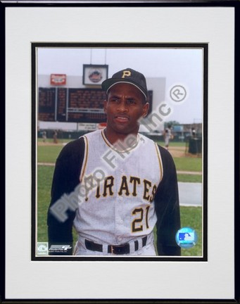 "Roberto Clemente, Pittsburgh Pirates Double Matted 8"" X 10"" Photograph in Black Anodized Aluminum Frame"
