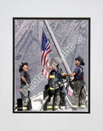 """New York Firefighters / Ground Zero Double Matted 8"""" X 10"""" Photograph (Unframed)"""
