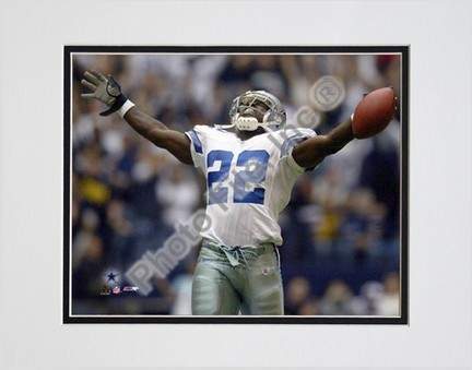 "Emmitt Smith ""All-Time Rushing Yard Leader #2"" Celebration Double Matted 8"" X 10"" Photograph (Unfram"