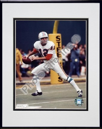 """Bob Griese """"Prepare to Pass"""" Double Matted 8"""" X 10"""" Photograph in Black Anodized Aluminum Frame"""