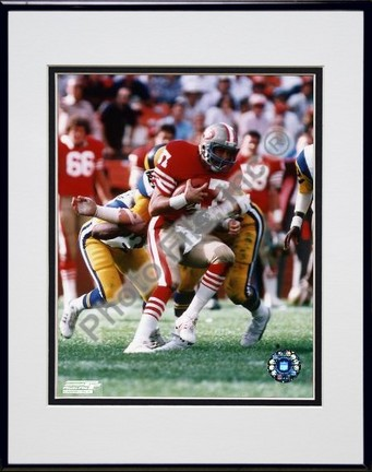 """Dwight Clark """"Action"""" Double Matted 8"""" X 10"""" Photograph in Black Anodized Aluminum Frame"""