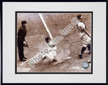 """Monte Irvin """"Sliding In Home"""" Double Matted 8"""" X 10"""" Photograph in Black Anodized Aluminum Frame"""