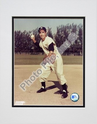 """Phil Rizzuto """"Fielding"""" Double Matted 8"""" X 10"""" Photograph (Unframed)"""